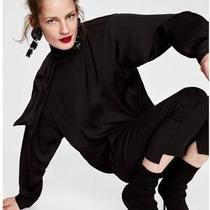NWT Zara Blouse With Bow Collar